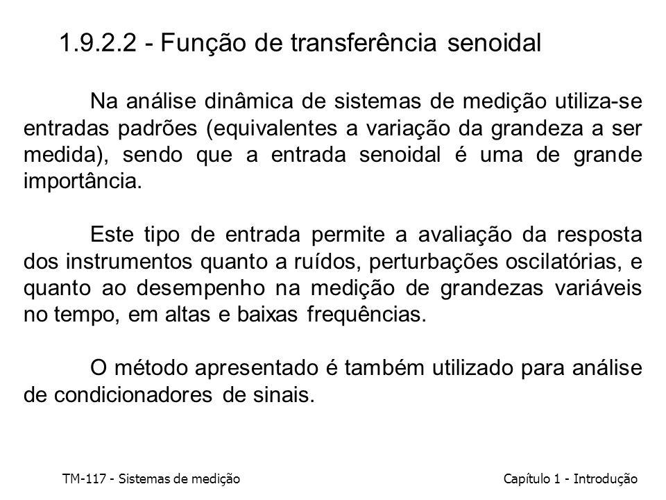 TM-117 - Sistemas de mediçãoCapítulo 1 - Introdução 1.9.2.2 - Função de transferência senoidal Na análise dinâmica de sistemas de medição utiliza-se e