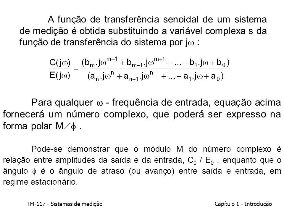 TM-117 - Sistemas de mediçãoCapítulo 1 - Introdução A função de transferência senoidal de um sistema de medição é obtida substituindo a variável compl