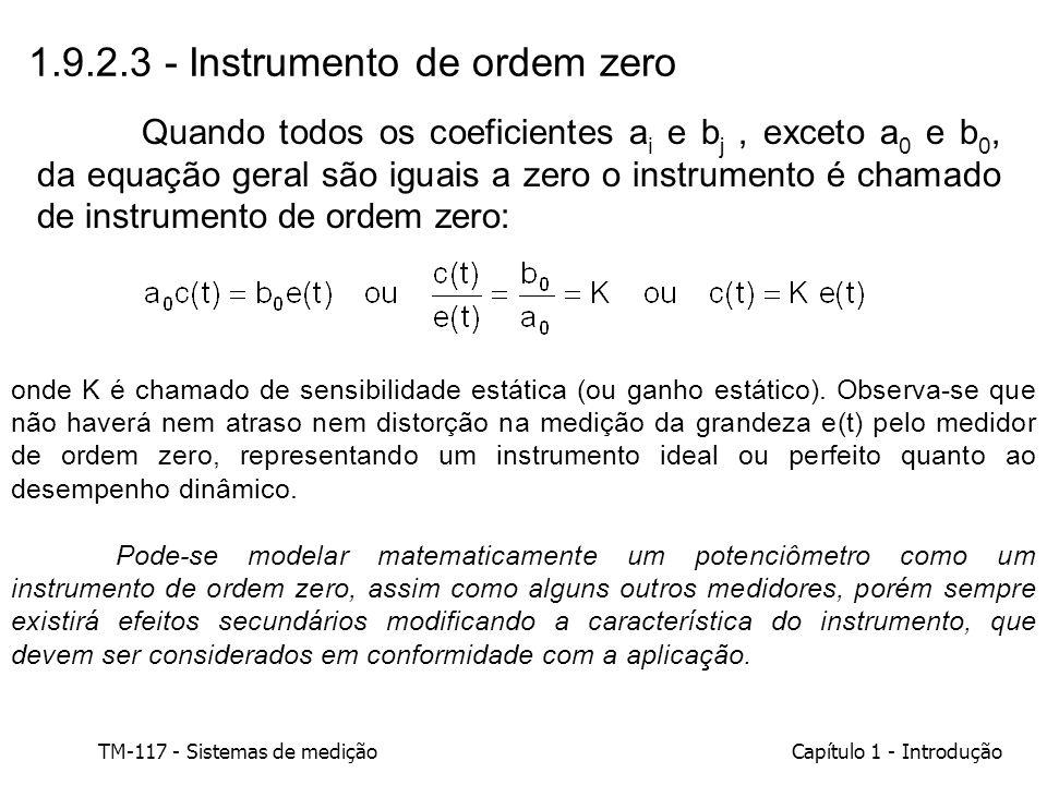 TM-117 - Sistemas de mediçãoCapítulo 1 - Introdução 1.9.2.3 - Instrumento de ordem zero onde K é chamado de sensibilidade estática (ou ganho estático)