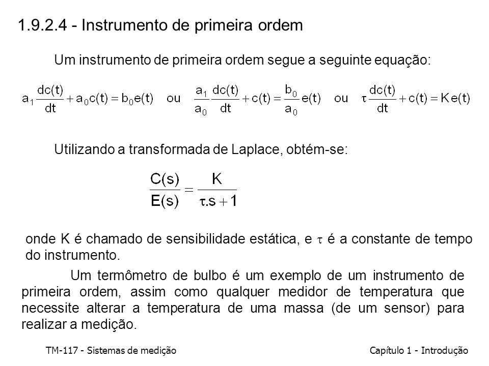 TM-117 - Sistemas de mediçãoCapítulo 1 - Introdução 1.9.2.4 - Instrumento de primeira ordem Um instrumento de primeira ordem segue a seguinte equação: