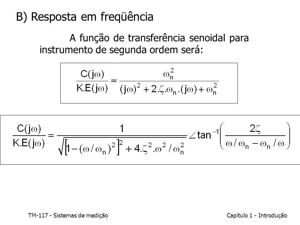 TM-117 - Sistemas de mediçãoCapítulo 1 - Introdução B) Resposta em freqüência A função de transferência senoidal para instrumento de segunda ordem ser