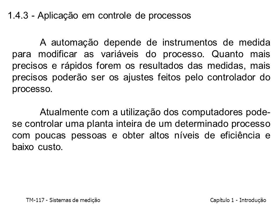TM-117 - Sistemas de mediçãoCapítulo 1 - Introdução 1.4.3 - Aplicação em controle de processos A automação depende de instrumentos de medida para modi