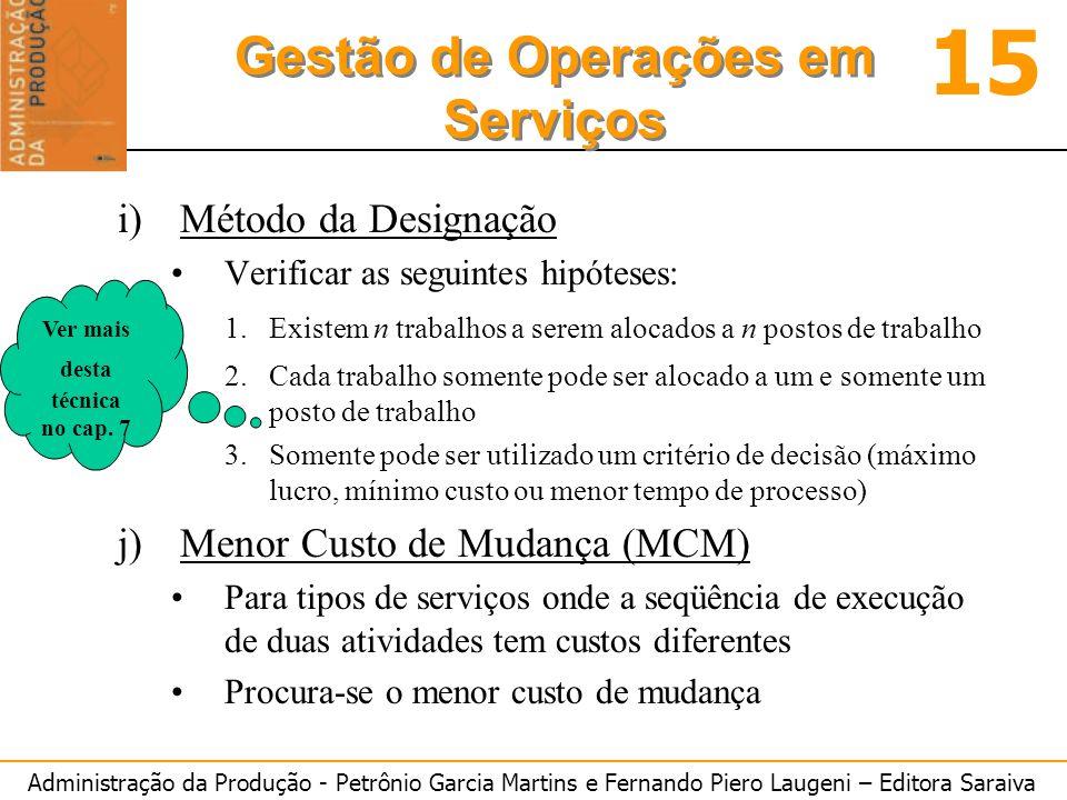 Administração da Produção - Petrônio Garcia Martins e Fernando Piero Laugeni – Editora Saraiva 15 Gestão de Operações em Serviços i)Método da Designaç