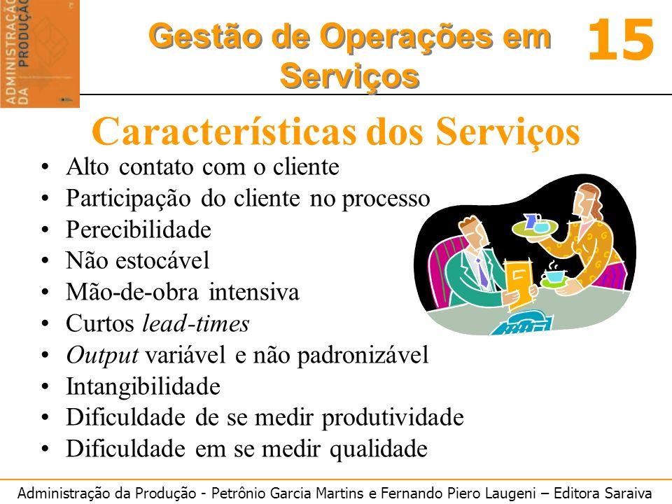 Administração da Produção - Petrônio Garcia Martins e Fernando Piero Laugeni – Editora Saraiva 15 Gestão de Operações em Serviços Características dos