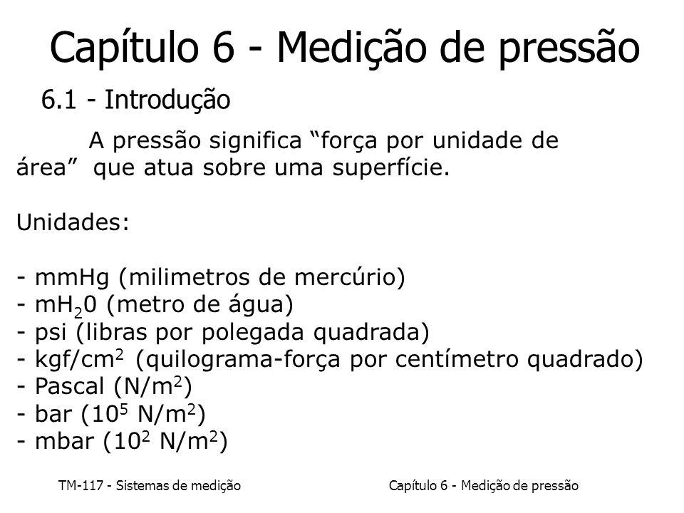 Capítulo 6 - Medição de pressão TM-117 - Sistemas de medição 6.1 - Introdução Pressão absoluta: Pressão positiva a partir do vácuo completo.