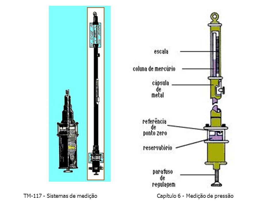 Capítulo 6 - Medição de pressão TM-117 - Sistemas de medição Iluminação Temperatura – Para manter a imprecisão dentro de uma faixa de 0,001% (0,003 pol.Hg) a temperatura do mercúrio deve ser mantida dentro de uma faixa de +/- 1 o F Alinhamento vertical do barômetro Fatores de imprecisão de leitura em barômetros de mercúrio