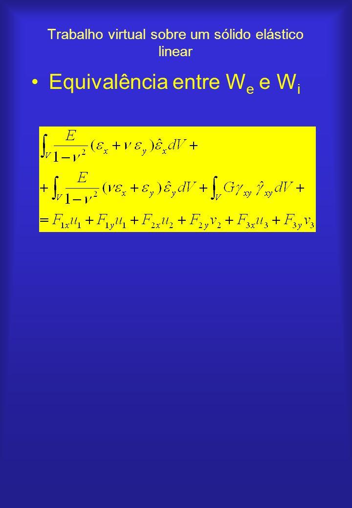 Trabalho virtual sobre um sólido elástico linear Equivalência entre W e e W i