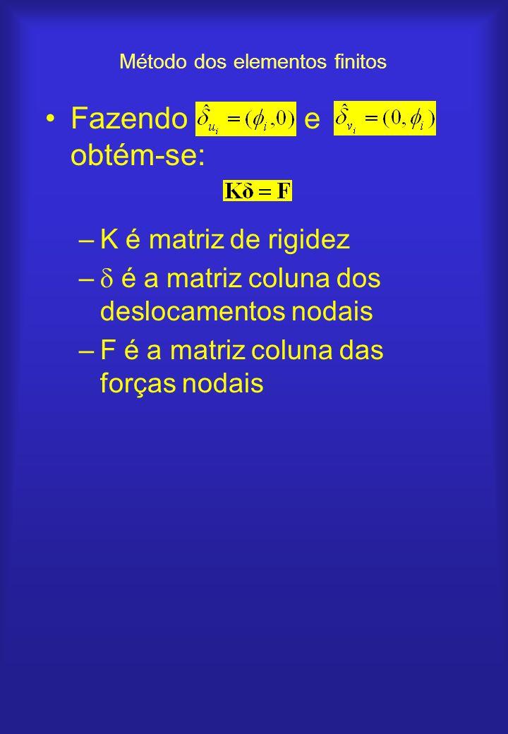 Método dos elementos finitos Fazendo e obtém-se: –K é matriz de rigidez – é a matriz coluna dos deslocamentos nodais –F é a matriz coluna das forças n