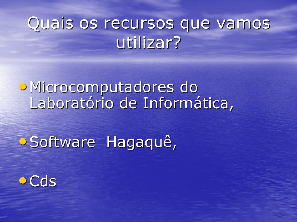 Quais os recursos que vamos utilizar? Microcomputadores do Laboratório de Informática, Microcomputadores do Laboratório de Informática, Software Hagaq