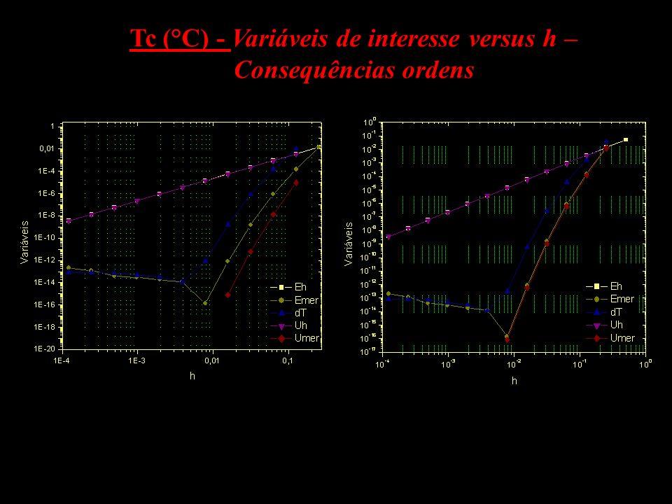 Resultados: A utilização da ordem efetiva equivocada (PE) impacta diretamente o resultado da simulação; A diferença entre Eh e Emer tendem a zero quando h 0;