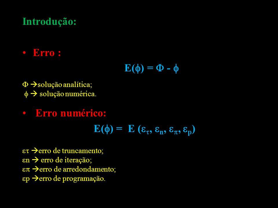 Introdução: Erro : E( ) = - solução analítica; solução numérica. Erro numérico: E( ) = E (, n,, p ) erro de truncamento; n erro de iteração; erro de a
