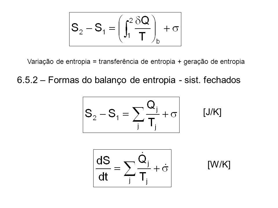 Variação de entropia = transferência de entropia + geração de entropia [J/K][W/K] 6.5.2 – Formas do balanço de entropia - sist. fechados
