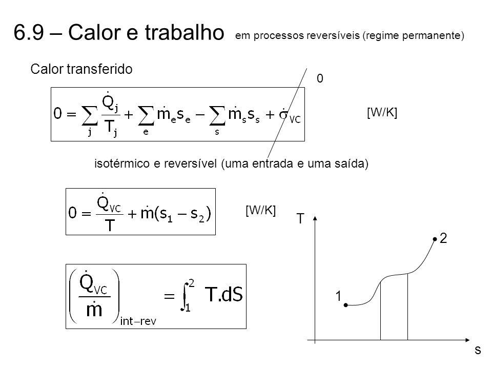 6.9 – Calor e trabalho em processos reversíveis (regime permanente) Calor transferido [W/K] 0 isotérmico e reversível (uma entrada e uma saída) [W/K]