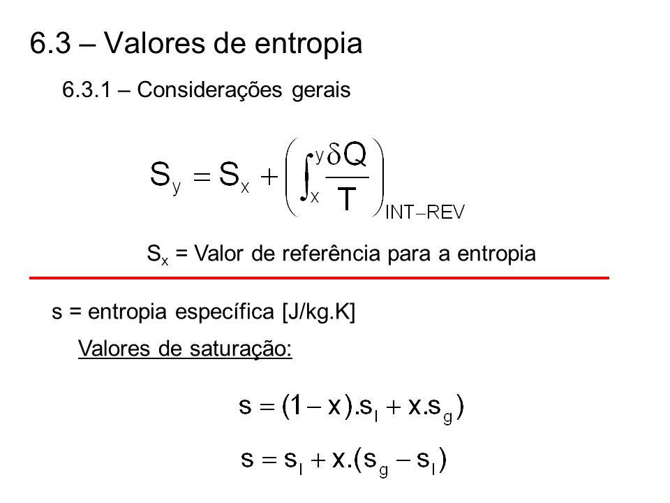 6.3 – Valores de entropia S x = Valor de referência para a entropia s = entropia específica [J/kg.K] Valores de saturação: 6.3.1 – Considerações gerai