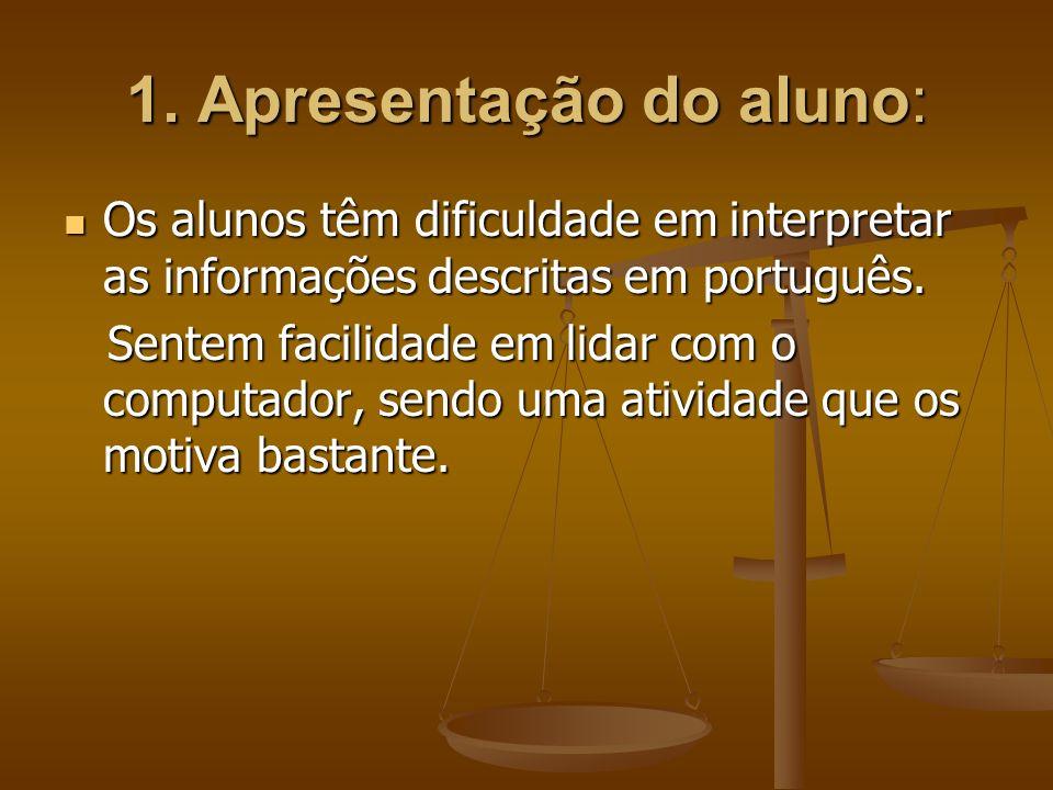1. Apresentação do aluno: Os alunos têm dificuldade em interpretar as informações descritas em português. Os alunos têm dificuldade em interpretar as