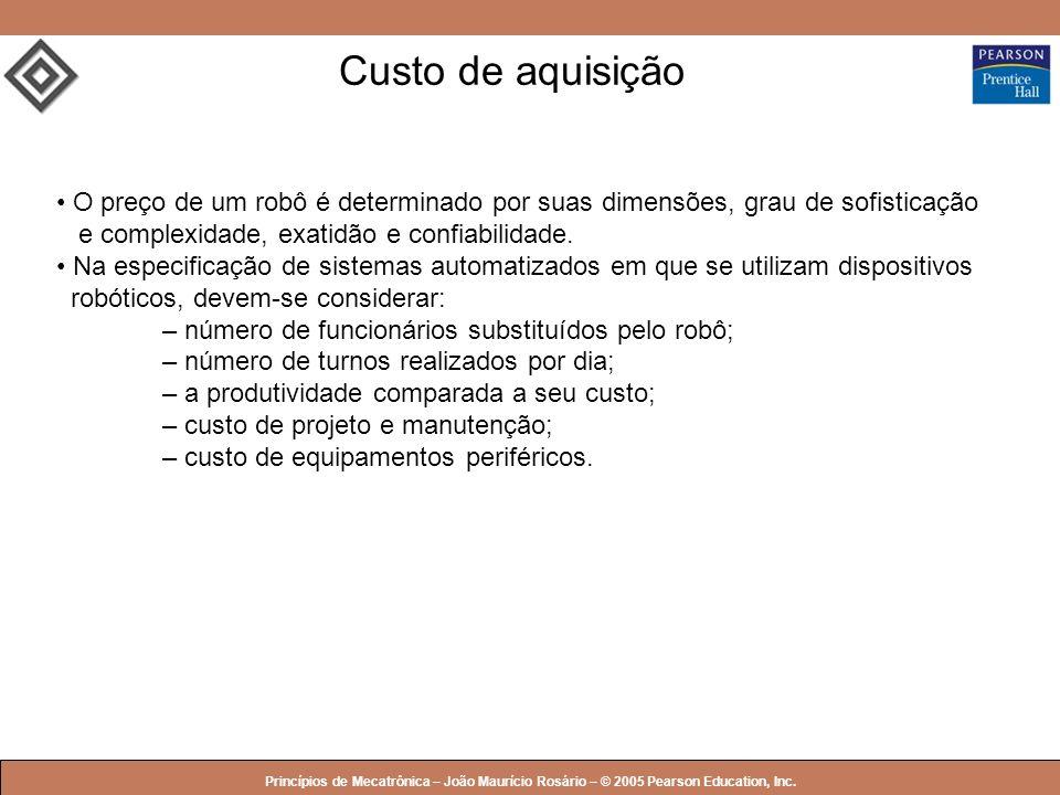© 2005 by Pearson Education Princípios de Mecatrônica – João Maurício Rosário – © 2005 Pearson Education, Inc. Custo de aquisição O preço de um robô é