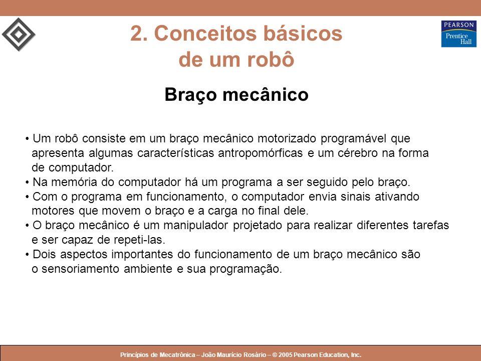 © 2005 by Pearson Education Princípios de Mecatrônica – João Maurício Rosário – © 2005 Pearson Education, Inc. 2. Conceitos básicos de um robô Braço m