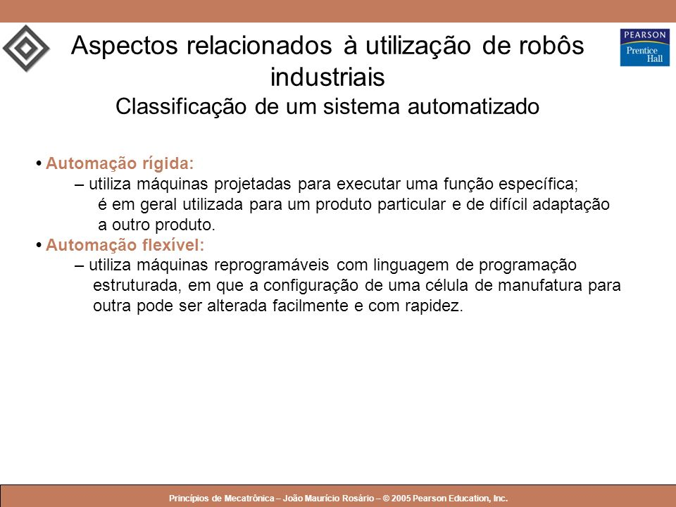 © 2005 by Pearson Education Princípios de Mecatrônica – João Maurício Rosário – © 2005 Pearson Education, Inc. Aspectos relacionados à utilização de r