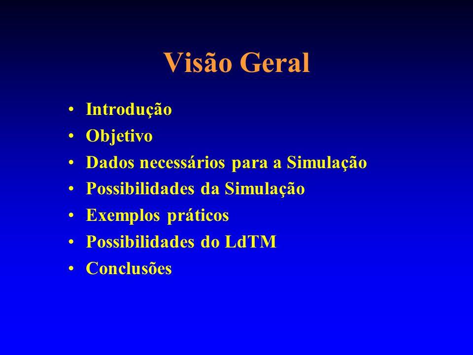 Visão Geral Introdução Objetivo Dados necessários para a Simulação Possibilidades da Simulação Exemplos práticos Possibilidades do LdTM Conclusões
