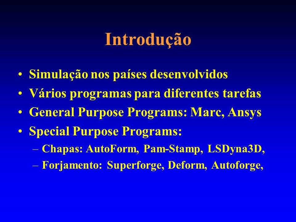Introdução Simulação nos países desenvolvidos Vários programas para diferentes tarefas General Purpose Programs: Marc, Ansys Special Purpose Programs: –Chapas: AutoForm, Pam-Stamp, LSDyna3D, –Forjamento: Superforge, Deform, Autoforge,