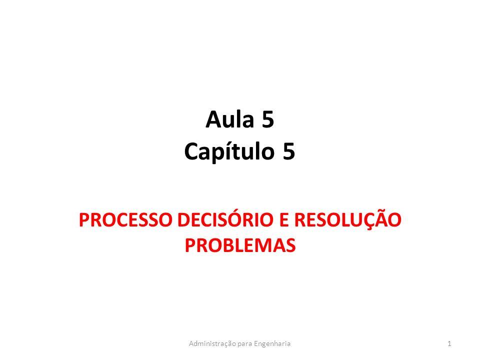 Aula 5 Capítulo 5 PROCESSO DECISÓRIO E RESOLUÇÃO PROBLEMAS 1Administração para Engenharia
