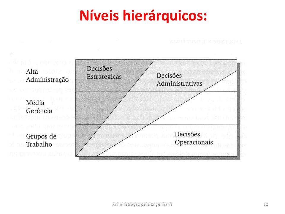 Níveis hierárquicos: 12Administração para Engenharia