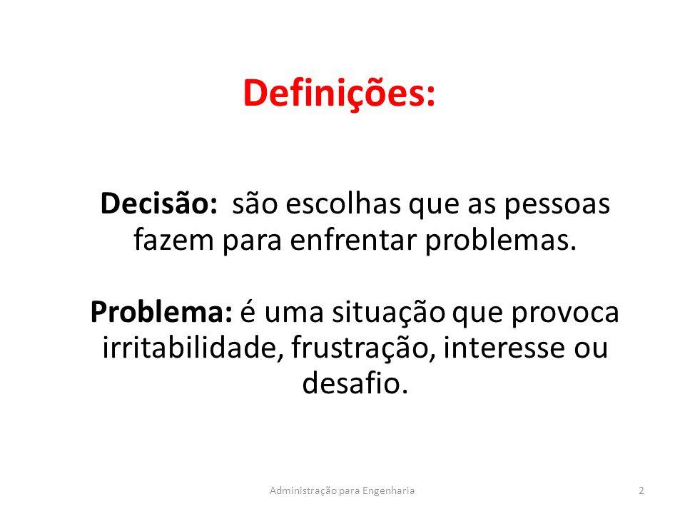 Definições: 2Administração para Engenharia Decisão: são escolhas que as pessoas fazem para enfrentar problemas.