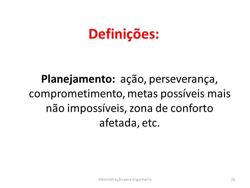 Definições: 25Administração para Engenharia Planejamento: ação, perseverança, comprometimento, metas possíveis mais não impossíveis, zona de conforto afetada, etc.