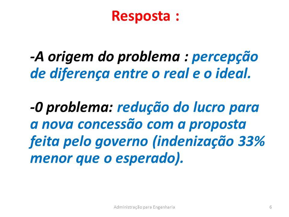 Resposta : 6Administração para Engenharia -A origem do problema : percepção de diferença entre o real e o ideal.