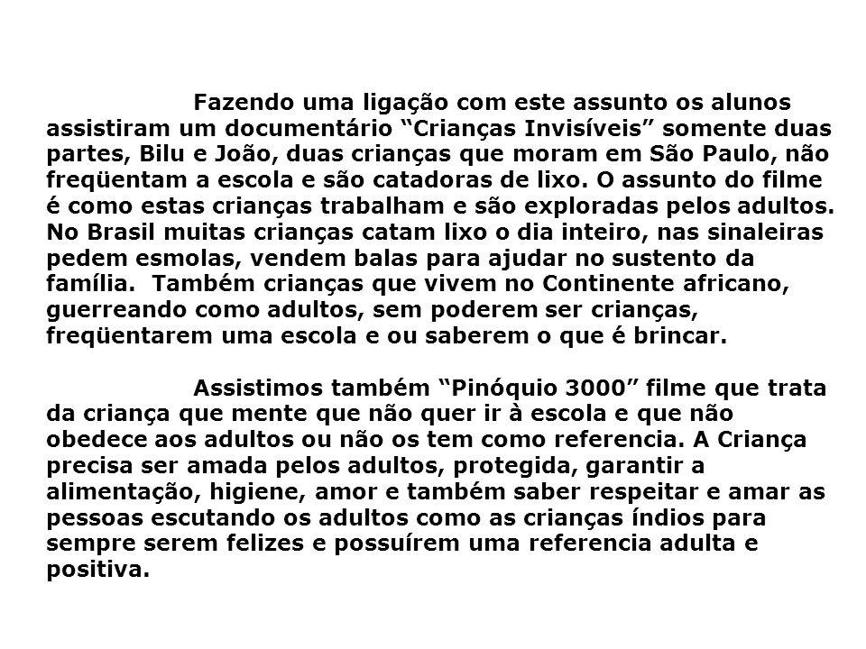 Fazendo uma ligação com este assunto os alunos assistiram um documentário Crianças Invisíveis somente duas partes, Bilu e João, duas crianças que moram em São Paulo, não freqüentam a escola e são catadoras de lixo.