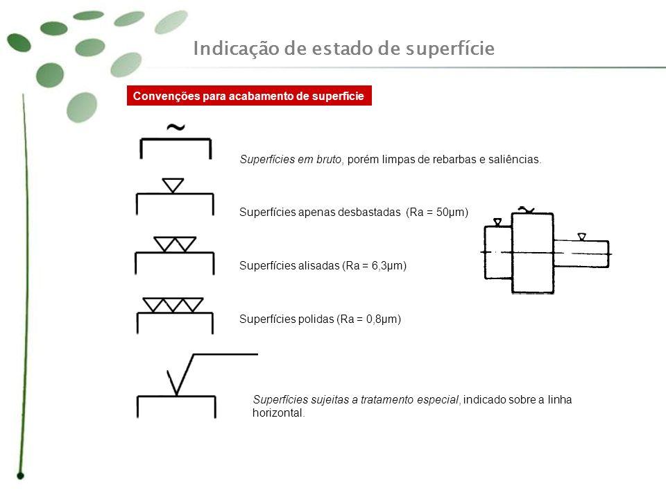 Indicação de estado de superfície Símbolos sem indicação Símbolos com indicação da rugosidade A Norma ABNT - NBR 8404 fixa os símbolos e indicações complementares para a identificação do estado de superfície em desenhos técnicos.