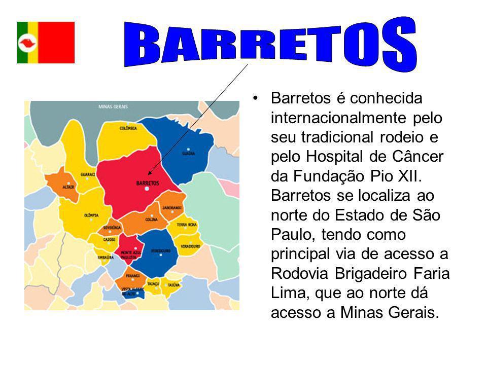 Barretos é conhecida internacionalmente pelo seu tradicional rodeio e pelo Hospital de Câncer da Fundação Pio XII. Barretos se localiza ao norte do Es