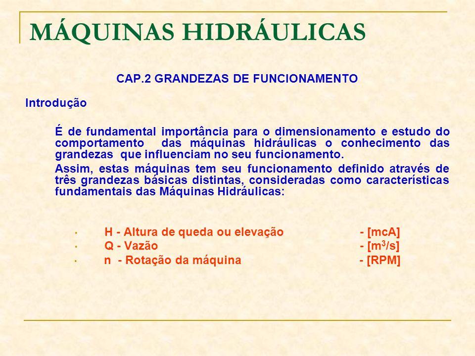 MÁQUINAS HIDRÁULICAS CAP.2 GRANDEZAS DE FUNCIONAMENTO Introdução É de fundamental importância para o dimensionamento e estudo do comportamento das máq