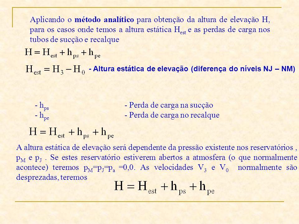 Aplicando o método analítico para obtenção da altura de elevação H, para os casos onde temos a altura estática H est e as perdas de carga nos tubos de