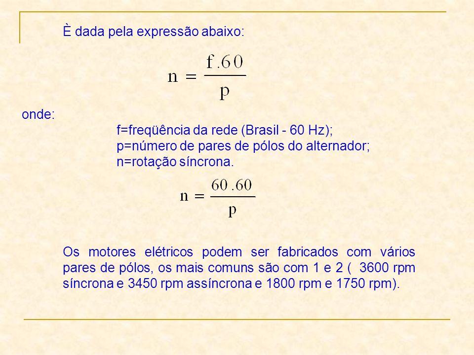 È dada pela expressão abaixo: onde: f=freqüência da rede (Brasil - 60 Hz); p=número de pares de pólos do alternador; n=rotação síncrona. Os motores el