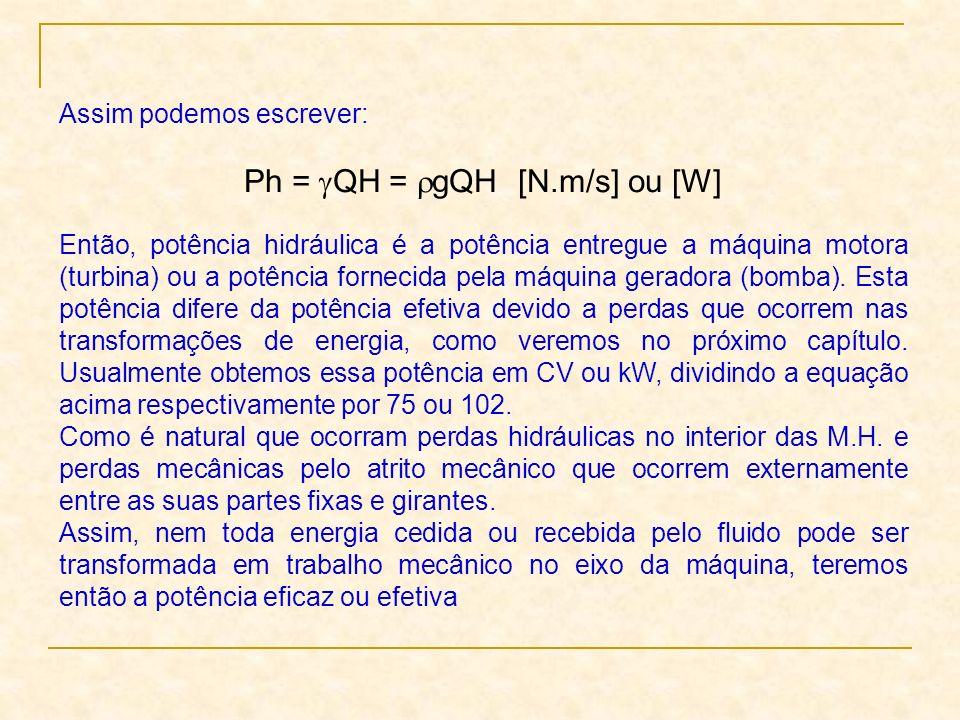 Assim podemos escrever: Ph = QH = gQH [N.m/s] ou [W] Então, potência hidráulica é a potência entregue a máquina motora (turbina) ou a potência forneci