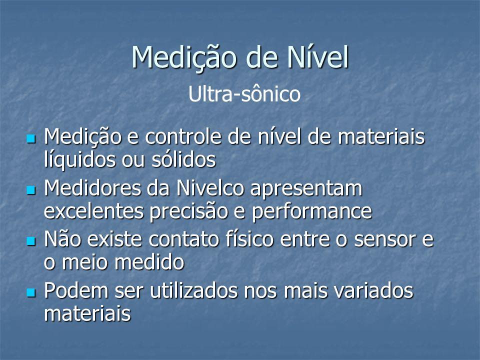 Medição de Nível Medição e controle de nível de materiais líquidos ou sólidos Medição e controle de nível de materiais líquidos ou sólidos Medidores d