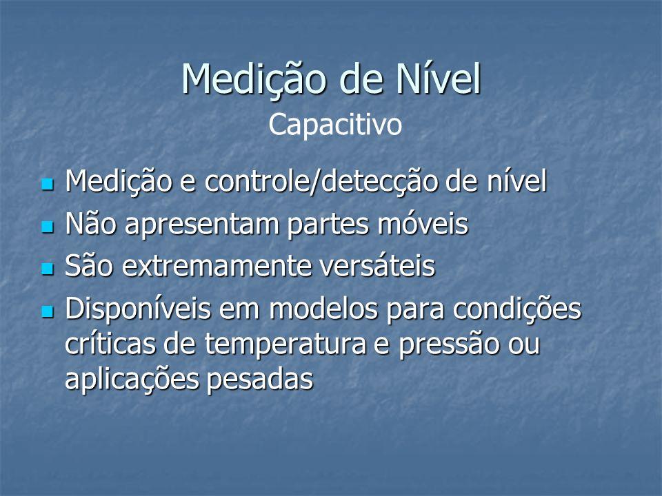 Medição de Nível Medição e controle/detecção de nível Medição e controle/detecção de nível Não apresentam partes móveis Não apresentam partes móveis S