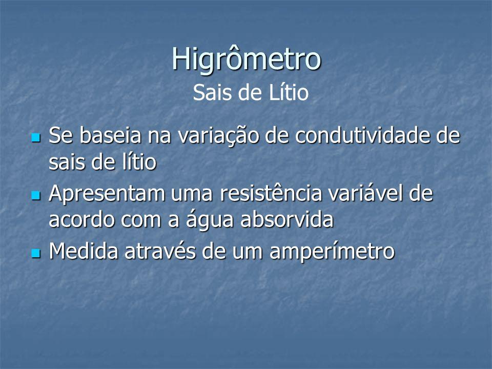 Higrômetro Se baseia na variação de condutividade de sais de lítio Se baseia na variação de condutividade de sais de lítio Apresentam uma resistência