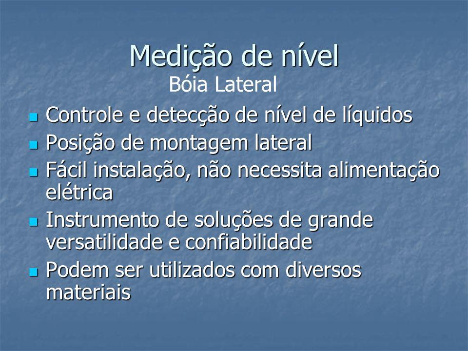 Medição de nível Controle e detecção de nível de líquidos Controle e detecção de nível de líquidos Posição de montagem lateral Posição de montagem lat