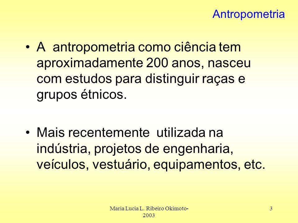 Maria Lucia L. Ribeiro Okimoto- 2003 3 Antropometria A antropometria como ciência tem aproximadamente 200 anos, nasceu com estudos para distinguir raç