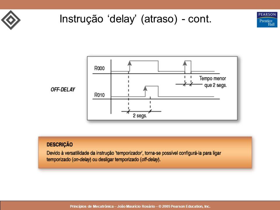 © 2005 by Pearson Education Princípios de Mecatrônica – João Maurício Rosário – © 2005 Pearson Education, Inc. Instrução delay (atraso) - cont.