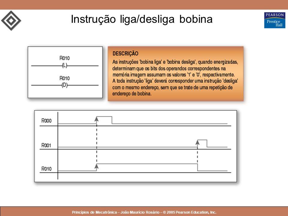 © 2005 by Pearson Education Princípios de Mecatrônica – João Maurício Rosário – © 2005 Pearson Education, Inc. Instrução liga/desliga bobina