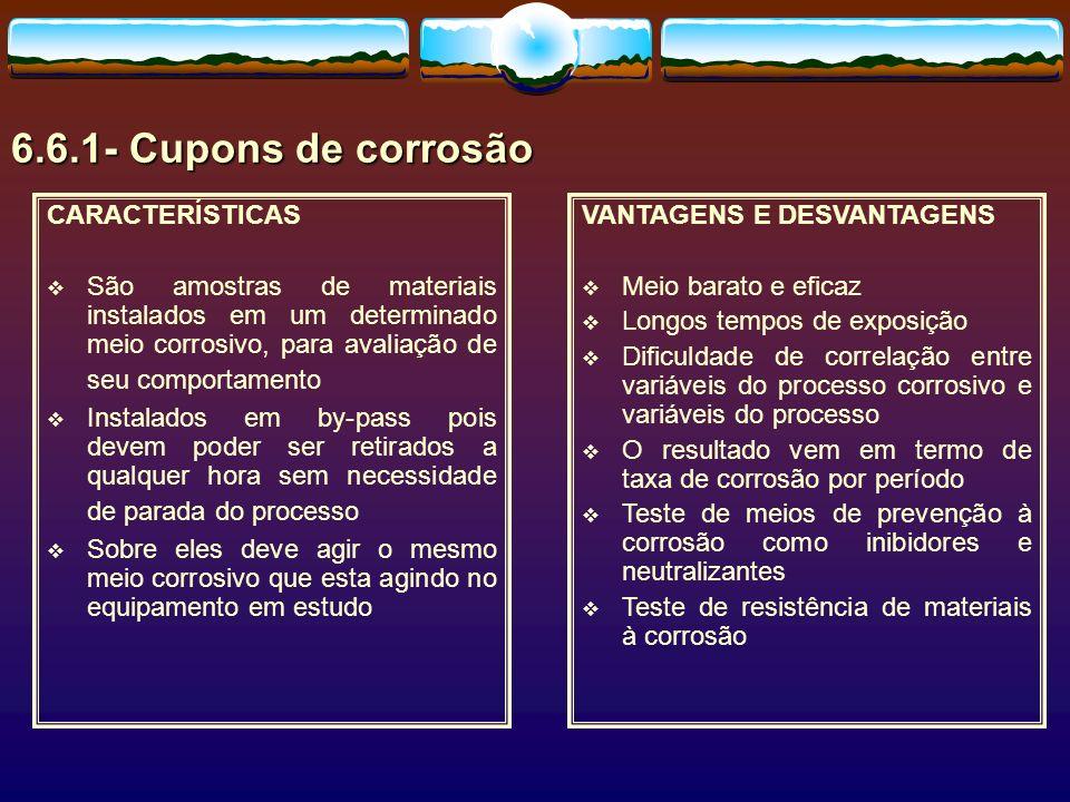 6.6.1- Cupons de corrosão CARACTERÍSTICAS São amostras de materiais instalados em um determinado meio corrosivo, para avaliação de seu comportamento I
