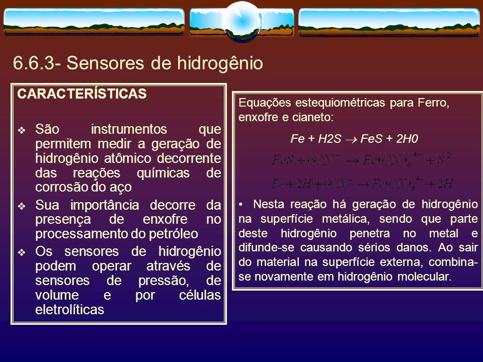 6.6.3- Sensores de hidrogênio CARACTERÍSTICAS São instrumentos que permitem medir a geração de hidrogênio atômico decorrente das reações químicas de c