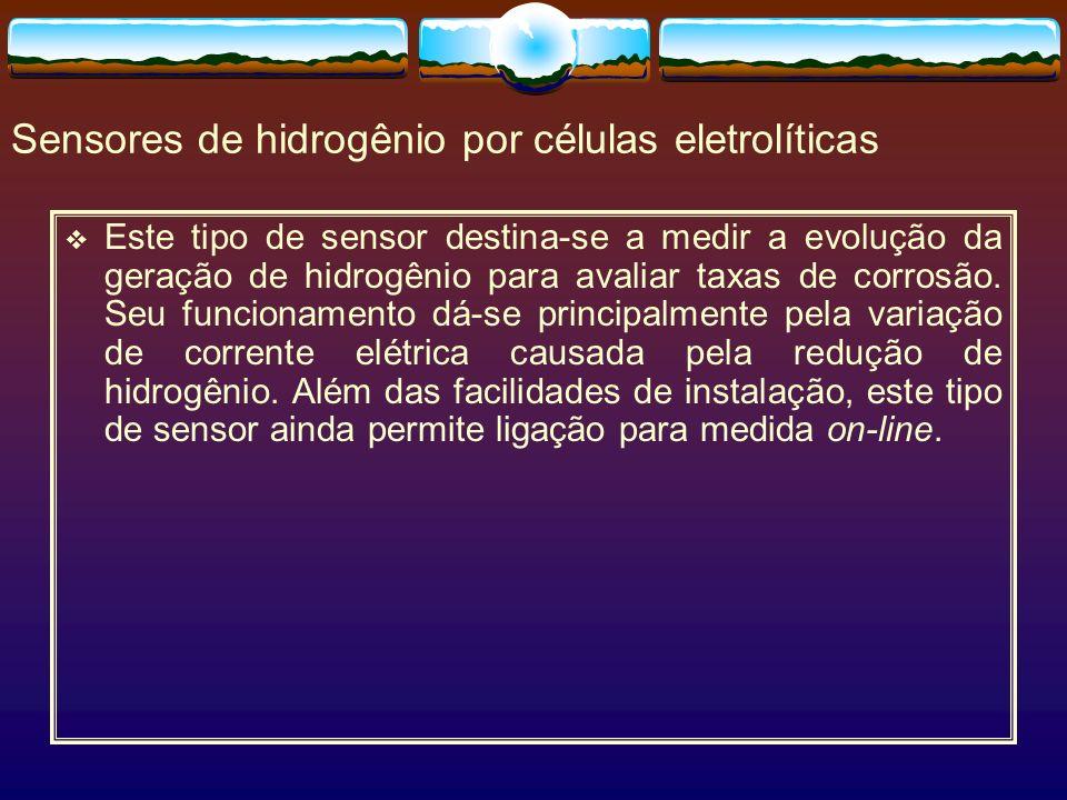 Sensores de hidrogênio por células eletrolíticas Este tipo de sensor destina-se a medir a evolução da geração de hidrogênio para avaliar taxas de corr
