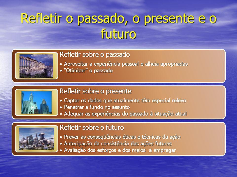 Refletir o passado, o presente e o futuro Refletir sobre o passado Aproveitar a experiência pessoal e alheia apropriadasAproveitar a experiência pesso