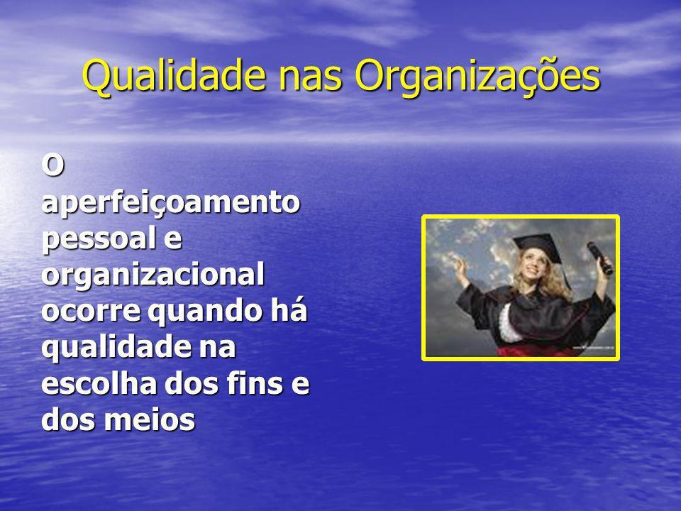 Qualidade nas Organizações O aperfeiçoamento pessoal e organizacional ocorre quando há qualidade na escolha dos fins e dos meios