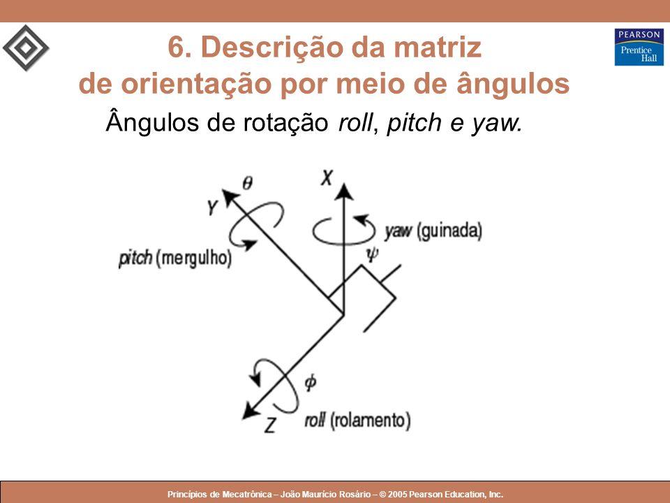 © 2005 by Pearson Education Princípios de Mecatrônica – João Maurício Rosário – © 2005 Pearson Education, Inc. 6. Descrição da matriz de orientação po