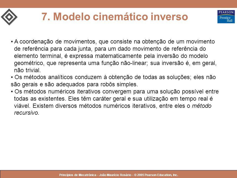 © 2005 by Pearson Education Princípios de Mecatrônica – João Maurício Rosário – © 2005 Pearson Education, Inc. 7. Modelo cinemático inverso A coordena